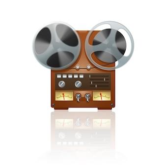 Nostálgico dispositivo de grabadora de cinta de bobina vintage con el icono de dispositivo grabado con reflejo de espejo
