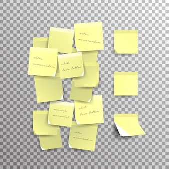 Nota adhesiva amarilla aislada en un fondo transparente. plantilla para tus proyectos. ilustración.
