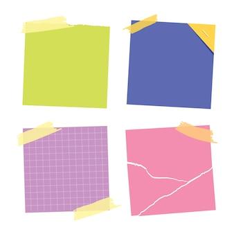 Nota adhesiva colección de notas. publíquelo para la nota de trabajo, recordatorio para hacerlo. colección de pegatinas de papel de oficina.