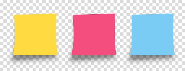 Nota adhesiva realista con sombra aislada sobre fondo transparente. recordatorio. mensaje en papel de carta. papel amarillo, rojo, azul.