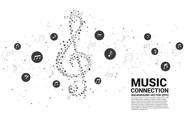Nota clave de música de sol de vector de línea de conexión de punto