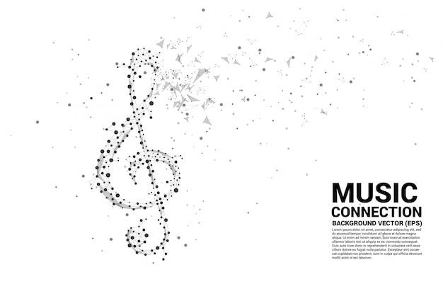 Nota clave de sol sol de vector de línea de conexión de punto. antecedentes del concepto de tema de canción y concierto.