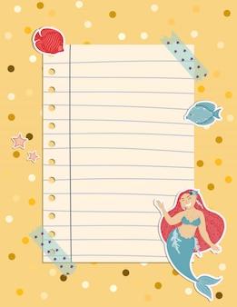 Nota colorida de página con una sirena, algas, peces y conchas.
