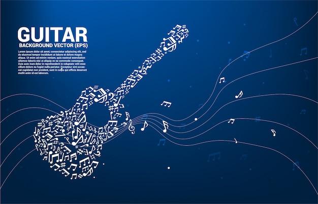 Nota de melodía de música de vector icono de guitarra de forma de flujo de baile