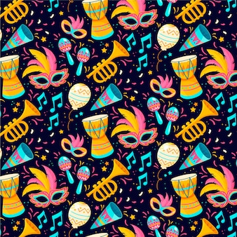 Nota musical e instrumentales diseño plano del patrón de carnaval brasileño