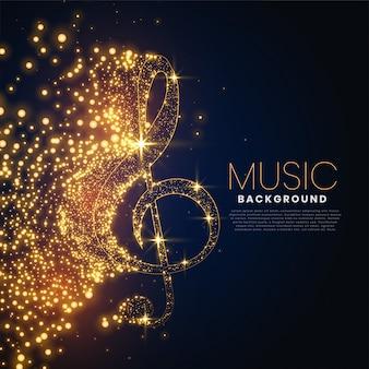 Nota musical hecha con fondo de partículas brillantes