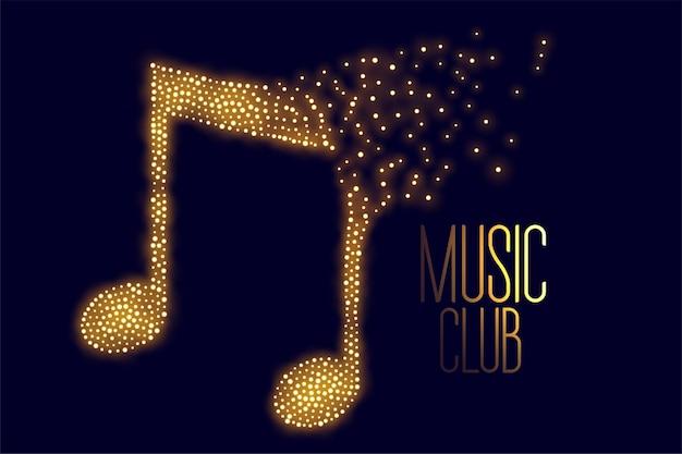 Nota musical hecha con fondo de partículas doradas.