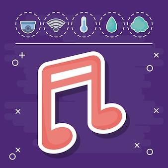 Nota musical con iconos relacionados con la casa inteligente