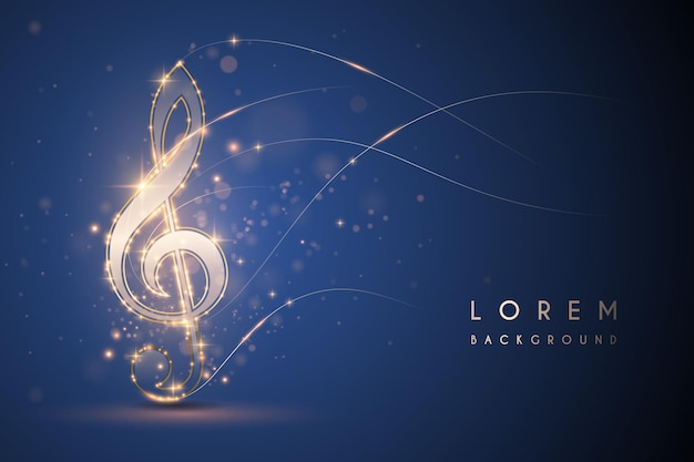 Nota musical de luz dorada sobre fondo azul.