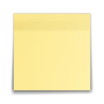 Nota de palo amarillo aislado sobre fondo blanco.