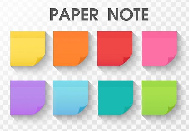 Nota de papel de colección de pegatinas con larga sombra.