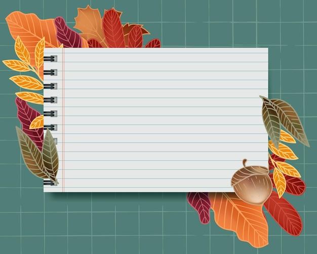Nota de papel con fondo de hojas de otoño