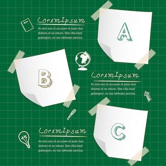 Nota de papel infografía de negocios con tres pasos.