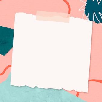 Nota de papel sobre el fondo de memphis