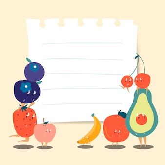 Nota de papel con vector de frutas divertidas