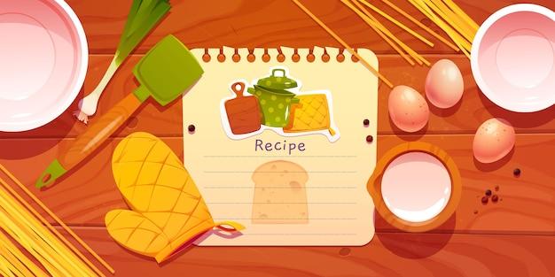 Nota de receta de dibujos animados con ingredientes