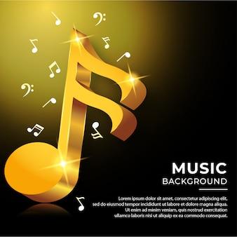 Notas acorde musical en estilo 3d con color dorado