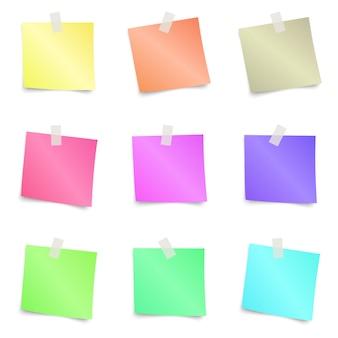 Notas adhesivas - conjunto de coloridas notas adhesivas aisladas sobre fondo blanco. ilustración