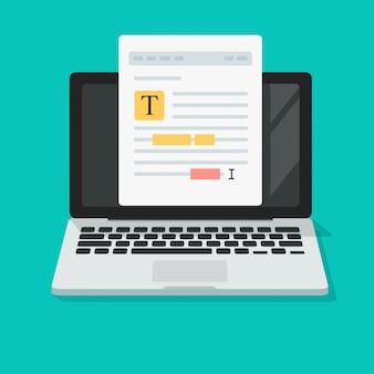 Notas de archivo de texto o edición de contenido de documentos en línea en dibujos animados planos de icono de computadora portátil