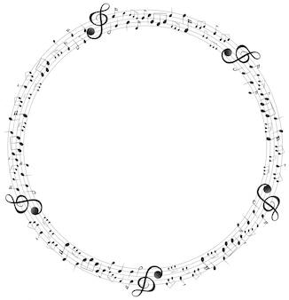 Notas de la música en el marco de escalas redondas