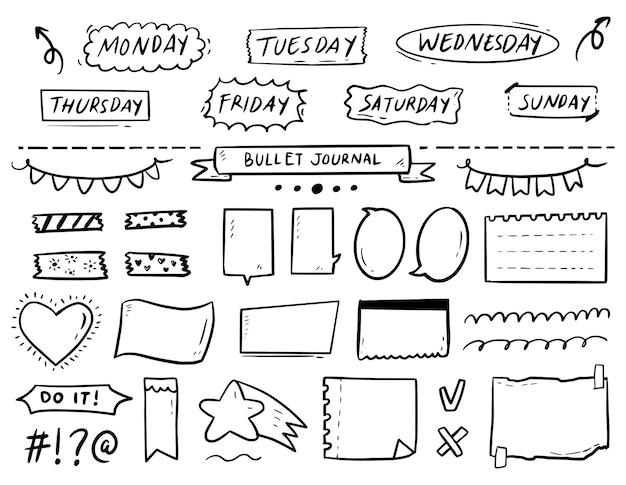 Notas de diario de bala y colección de doodle de dibujo de adorno