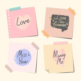 Notas grabadas de dulces mensajes.