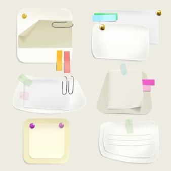 Notas de mensaje de papel ilustración de pegatinas de memo y recordatorios con clips, alfileres