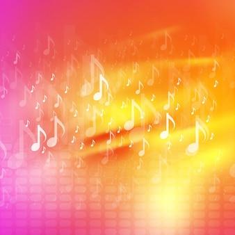 Notas de la música de fondo abstracto brillante. diseño de ondas vectoriales, colores amarillo y rosa.