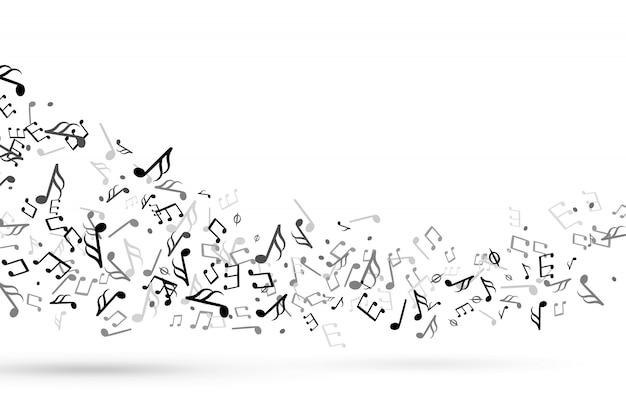 Las notas musicales se arremolinan. onda con notas, pentagrama musical, armonía clave, melodía sinfónica, música fluida, personal, clave de sol, vector, fondo