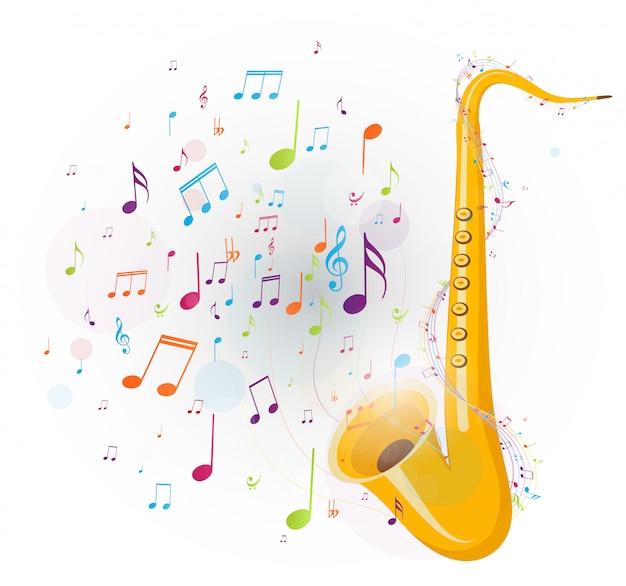 Notas musicales coloridas con saxofón.