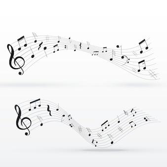 Notas musicales diseño de fondo de onda