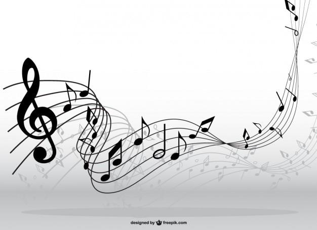 Notas musicales en movimiento