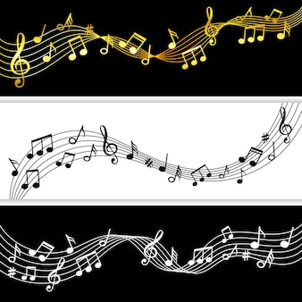 Notas musicales fluyen. doodle nota musical dibujo patrones de hojas, símbolos musicales siluetas modernas