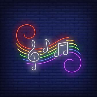 Notas musicales con letrero de neón de colores lgbt