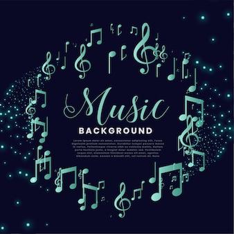Notas musicales marco bonito fondo