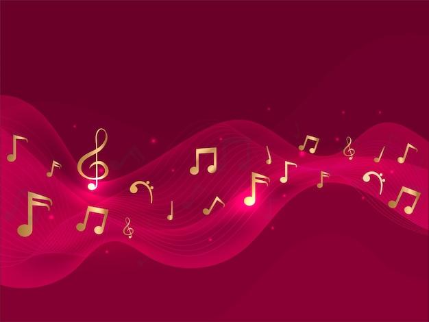 Notas musicales de oro con efecto de luces sobre fondo rojo de movimiento de onda abstracta.