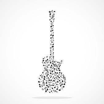 Notas musicales que forman una guitarra eléctrica