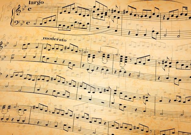 Notas musicales sobre bastón, fondo de papel viejo
