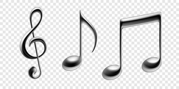 Notas musicales vector iconos aislados metálicos