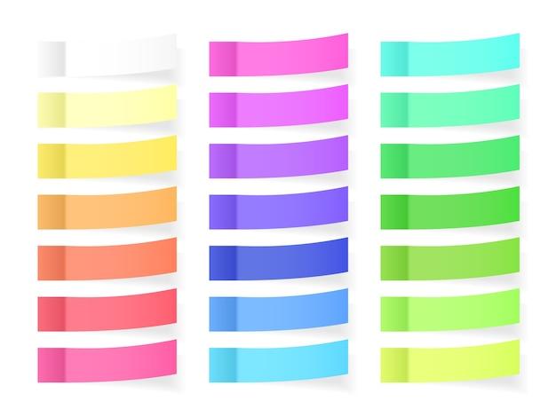 Notas de papel adhesivas con efecto de sombra. pegatinas de notas de notas de color en blanco para publicar aisladas sobre fondo transparente. ilustración.