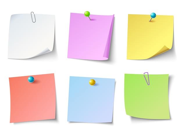 Notas de papel. conjunto de pegatinas de notas de vista superior