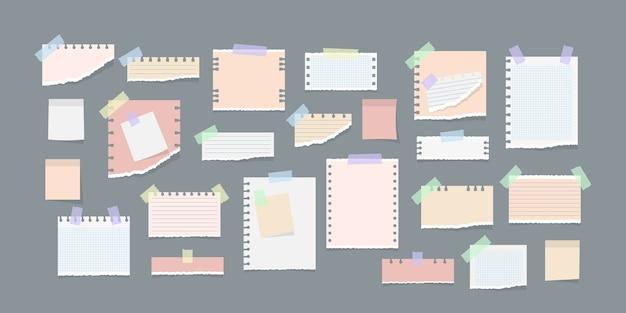 Notas de papel en la ilustración de pegatinas