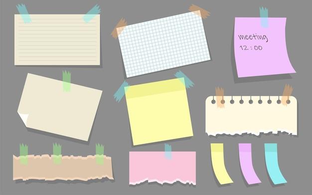 Notas de papel moderno en conjunto plano de pegatinas