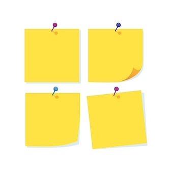 Notas de papel con varios colores de aguja.