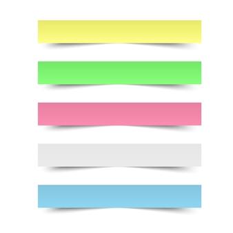 Notas recordatorias pegajosas. oficina de hojas de papel de colores