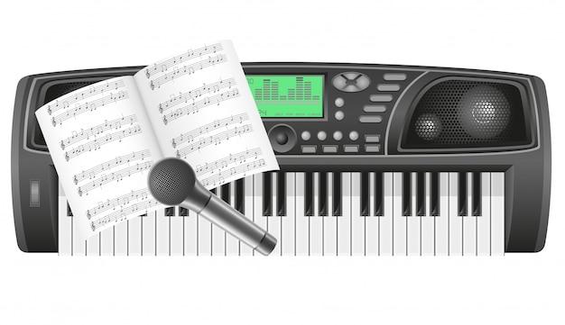 Notas de sintetizador y micrófono vector ilustración