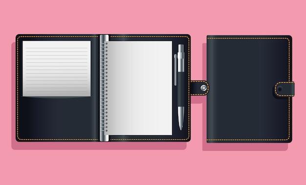 Notebook agend diseño de ilustración de vector de icono de maqueta negra