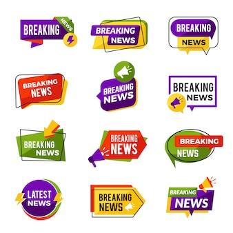 Noticias anuncian. informadores de medios geométricos diarios para la información publicitaria del sitio web para la colección de insignias de noticias de última hora