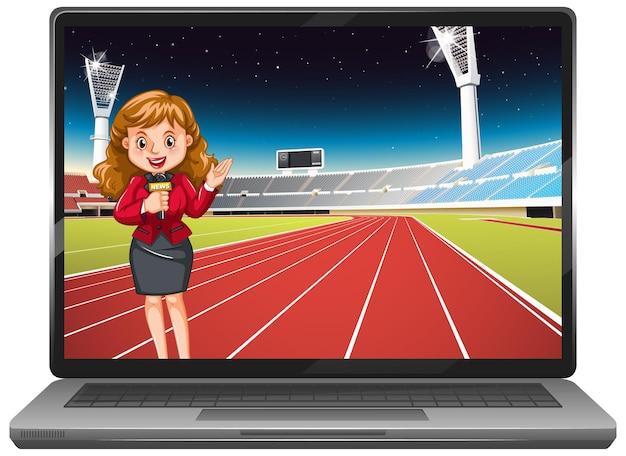 Noticias deportivas en la pantalla del portátil aislado