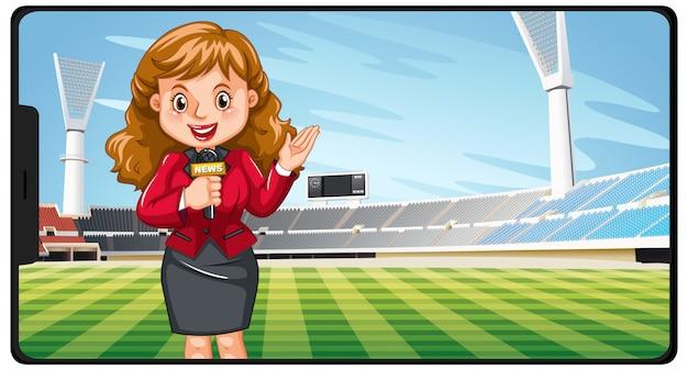 Noticias deportivas en la pantalla del teléfono inteligente